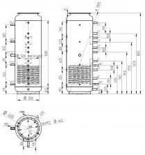 Akumulační nádrž s ohřevem TUV - MT1 500l +DN32