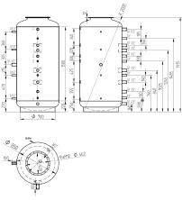Akumulační nádrž s ohřevem TUV - MT0 1000l d850+DN32