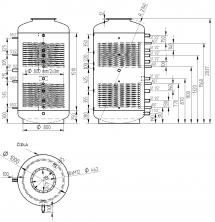 Akumulační nádrž s ohřevem TUV - MT2 1500l d1000+DN32
