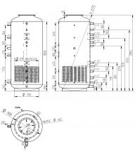 Akumulační nádrž s ohřevem TUV - MT1 1500l d900+DN32