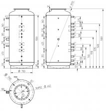 Akumulační nádrž s ohřevem TUV - MT0 800l +170l